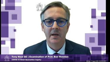 Professor Ben Howden speaks during the COVID-19 Hotel QuarantineInquiry.