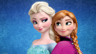 Elsa and Anna from the film Frozen.
