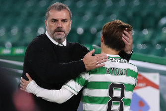 Ange Postecoglou and Kyogo Furuhashi, whom the Australian coach brought to Glasgow from his native Japan.