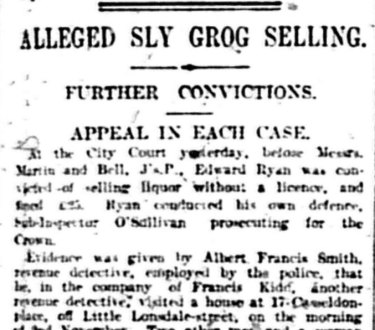 Article about alleged sly grog selling at 17 Casselden Place, The Age December 24, 1913.