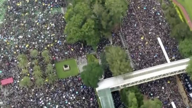 Drone footage shows protesters marching from Victoria Park on Sunday.