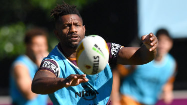 James Segeyaro in action during Brisbane Broncos training.
