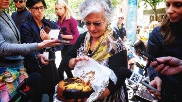 Pellegrini's employee Lucia holds Mr Malaspina's favourite cake.