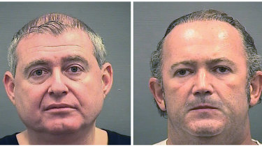 Booking photos of Lev Parnas, left, and his business partner, Igor Fruman, who were indicted last year on charges of conspiracy, making false statements and falsification of records.