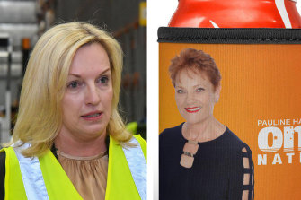 Pauline Hanson, right, has become a key supporter of Christine Holgate, who intervened to get Pauline Hanson stubby holders distributed to residents in one of Melbourne's locked down public housing towers last year.