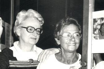 Judith Wright and Oodgeroo Noonuccal, then Kath Walker, at the film preview of Shadow Sister in 1977. The name was taken from a line in Wright's poem Two Dreamtimes, which was dedicated to Noonuccal.
