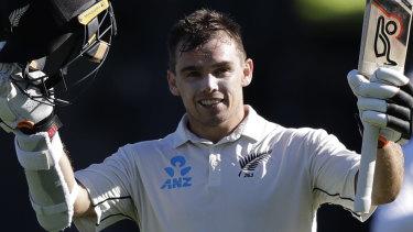 Mainstay: Tom Latham celebrates his ton against the Sri Lankans.