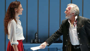 Marta Dusseldorp as Nora and Greg Stone as Torvald.