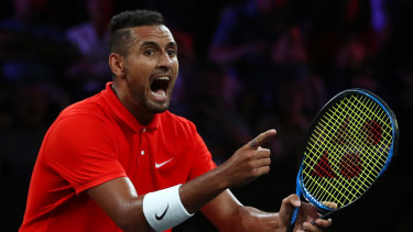 Bragging rights: Nick Kyrgios of Team World, playing with Jack Sock, celebrates against Rafael Nadal and Stefanos Tsitsipas of Team Europe.