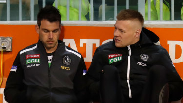 The Pies have been struck down by a number of injuries across the last two seasons, including missing Jordan De Goey (right), for their finals campaign.
