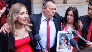 Katherine Haley's family members outside court after her killer was jailed.