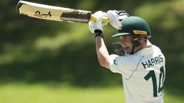 Marcus Harris bats during Australia A's first tour match against Indians.