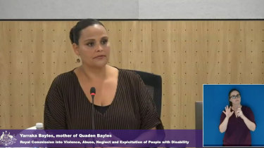 Yarraka Bayles, Quaden's mother, speaks at the disability royal commission on Monday..
