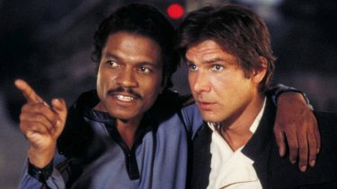 Lando Calrissian (Billy Dee Williams) and Han Solo (Harrison Ford) in The Empire Strikes Back.