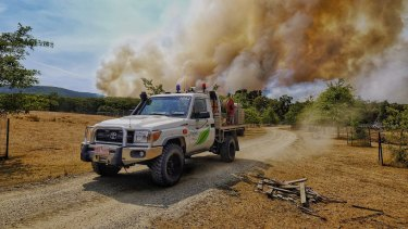 Firefighters battling the Bunyip State Park fire near Gembrook on Sunday.