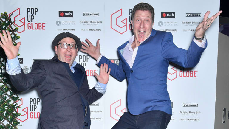 Dr Miles Gregory, Pop-up Globe founder, and Simon Pryce, Red Wiggle, at the opening night of the Pop Up Globe showing A Midsummer Night's Dream at the Entertainment Quarter on Wednesday.