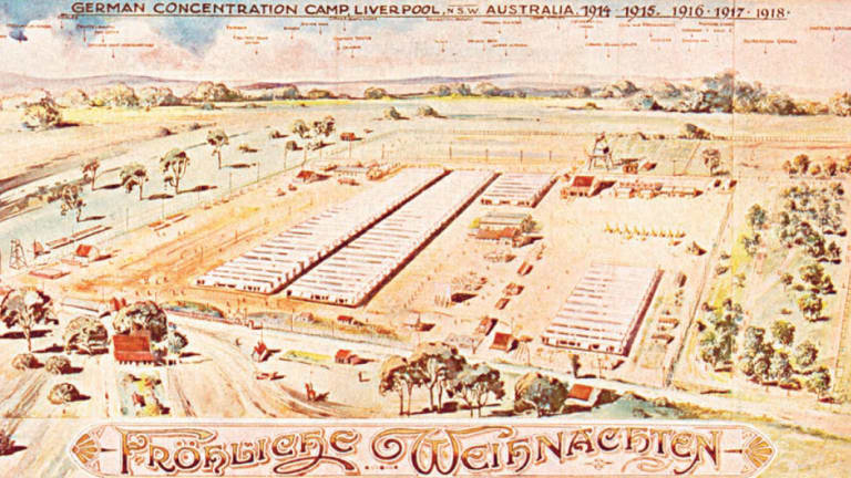 """Sent from the """"German concentration camp in Liverpool, NSW"""", this card's title Frohliche Weihnachten (""""Merry Christmas'') was """"ironic given that Holdsworthy camp was not a site of great merriment''."""