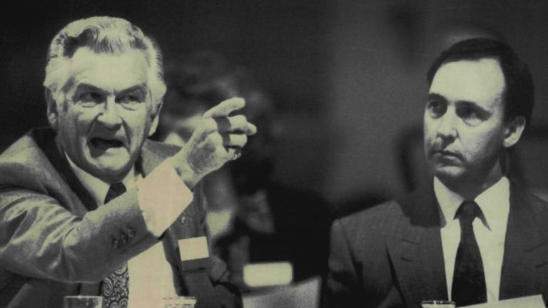 """""""Clever country"""": Then PM Bob Hawke with his deputy Paul Keating in 1990."""