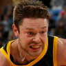Matthew Dellavedova drives against Canada.
