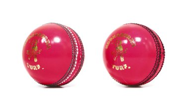 The pink ball, produced by Kookaburra for day-night Tests.