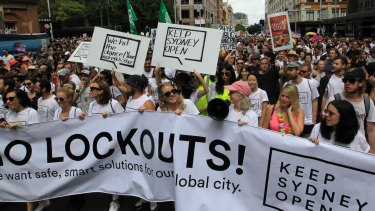 A protest rally against Sydney's lockout laws.