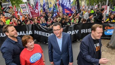 Tens of thousands of people march through the streets of Melbourne in support of the Change the Rules campaign in 2018. Victorian Premier Daniel Andrews led the march.