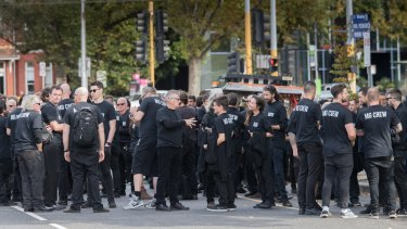 At the funeral for music legend Michael Gudinski, 162 roadies and crew gathered for a funeral procession.