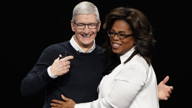 Apple CEO Tim Cook and Oprah Winfrey at the Apple TV+ launch.