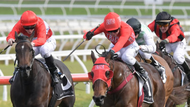 Redlining: Redzel kicks clear of Invincible Star in the Concorde Stakes.