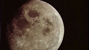 A nearly full moon seen from the Apollo 8 spacecraft.