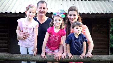 Lyon, wife Kirsten and kids Nikita 6, Annecy 4 and Jai 3 after his appointment to Fremantle in September 2011.