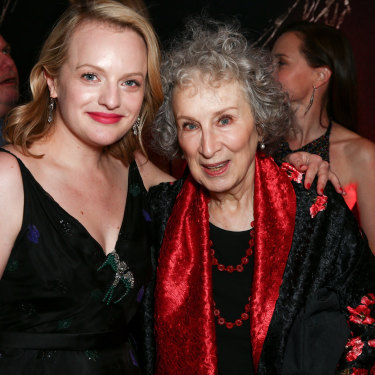 Atwood with actor Elisabeth Moss, who plays Offred in the TV adaptation of The Handmaid's Tale.