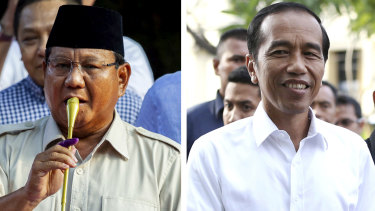 President Joko Widodo, right, has claimed victory, setting the stage for potential protests by supporters of his challenger Prabowo Subianto, left.