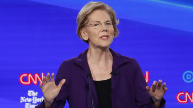 Elizabeth Warren during the recent Democratic presidential primary debate.
