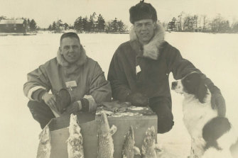 Don (left) Ice fishing for pike in New Jersey.