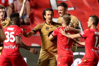 Daniel Georgievski (centre) was in the thick of the action on Friday night.