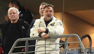 Proud Rabbitohs man: Co-owner Russell Crowe.