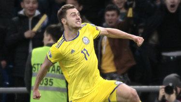 Jubilation: Yan Vorogovskiy celebrates after making it 2-0 for Kazakhstan against Scotland.