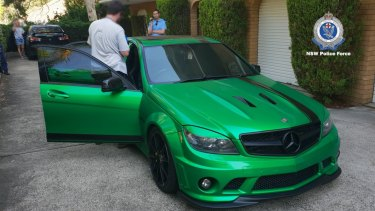 Police seized a green Mercedes sedan from a Kogarah garage about 4pm on Tuesday.