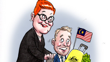 ABC journalist Hamish Macdonald is getting a good deal from the Foreign Affairs Minister Marise Payne.