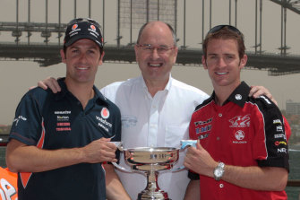 Jamie Whincup, Tony Cochrane and Will Davidson promoting the V* Supercars in Sydney in 2009.