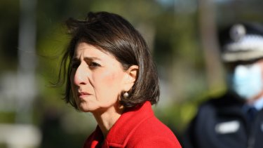 NSW Premier Gladys Berejiklian on the day she announced what was hoped to be a two week lockdown of Greater Sydney. Nine weeks later, the economic costs of the decision are growing.