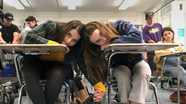 BFFs Beanie Feldstein and Kaitlyn Dever  in Booksmart.