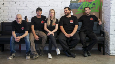 The owners of Mack Daddy's New York Slice in their new premises on Beaufort Street in Mt Lawley.