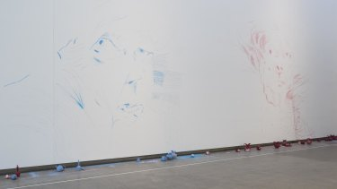 Ben Quilty's sketches of Margaret Olley at GOMA. The chalk objects underneath were used to create the masterpiece.