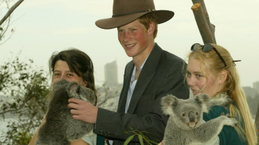 Pince Harry visiting Australia for the first time in 2003. His first engagement was held at Taronga Zoo in Sydney.