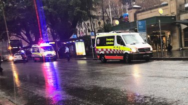 The man was stabbed while waiting for a bus at Wynyard.