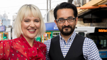 ABC Melbourne breakfast radio hosts Jacinta Parsons and Sami Shah.