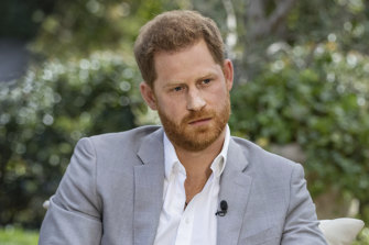 Prince Harry in conversation with Oprah Winfrey.