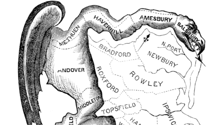 A political cartoon, printed in 1812, satirises the bizarre shape of a gerrymandered district in Essex County, Massachusetts, as a dragon-like monster.